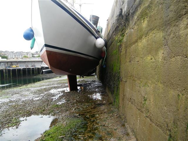 Boat dried out for survey